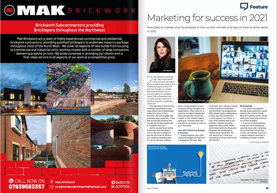 Marketing for Success in 2021 - UKCoM Feature in Britbuild Magazine